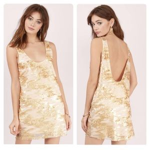 TOBI ALL THAT GLITTERS GOLD SEQUIN SHIFT DRESS